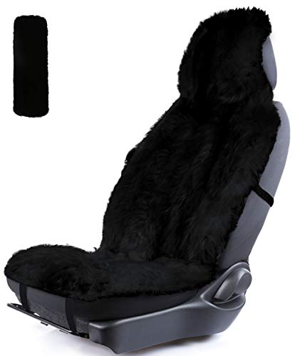 Atenia Sheepskin Front Seat Covers, Fur Fluffy Luxury Sheep Skin Sideless Auto Lambskin Seat Covers (Black)