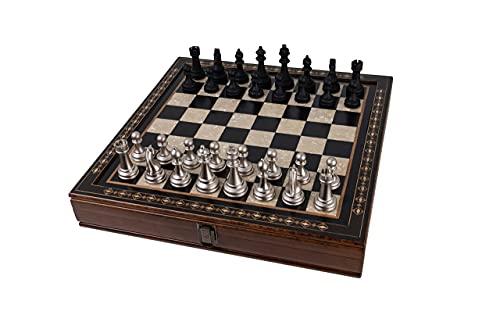 Juego de ajedrez | hecho a mano | Tablero de ajedrez de madera con almacenamiento | Edición de lujo | Figuras de ajedrez | Juego de ajedrez | 40 x 40 x 7 cm | Comprar ajedrez
