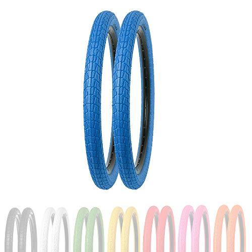 P4B   2X 20 Zoll Kinderreifen (50-406)   20 x 1.95   Verstärkte Karkasse für erhöhten Pannenschutz   Für BMX, Freestyle und Kinderfahrräder (U) 2X Reifen in Blau