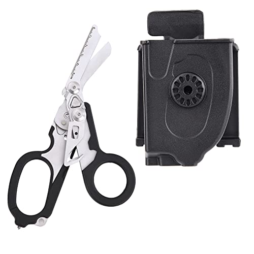 DADEA 6 in 1 Raptor Response Emergency Shears, Multitool Plier Shears, Tactical Folding Pliers with Strap Cutter and Glass Breaker, Black with Utility Holster