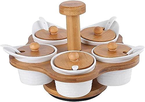 Kruiden Organizer Kruiken Set met 5 Keramiek Jar Flessen Draaiende Bamboe Spice Racks Organizer voor Cabinet Kitchen…