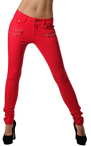 Freyday Modische Bequeme Damen Jeggings Leggings Hüfthose Stretch Slimfit (Rot, XL / 42)