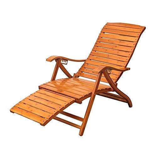 N&O Sillas de Siesta Tumbona de jardín Plegable reclinable con Respaldo Ajustable con reposapiés telescópico Silla de salón de bambú Tumbona