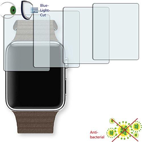 Disagu 4 x ClearScreen Displayschutzfolie für Apple Watch 42 mm (2016) Anti-bakteriell, BlueLightCut Filter Schutzfolie (bewusst Kleiner als das Display, da Dieses gewölbt ist)