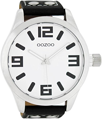 Oozoo Herrenuhr mit Lederband 51 MM Weiss/Schwarz C1003