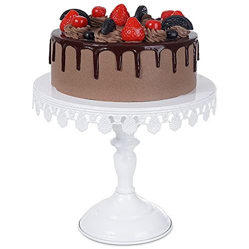 Tortenplatte mit fuß weiß Tortenständer Ø25.5cm Kuchenständer - Optyuwah Cupcake Halter Servierständer, 10 Zoll Cake Stand Dessert Tortenteller Kuchenteller für Desserttisch Hochzeit Party