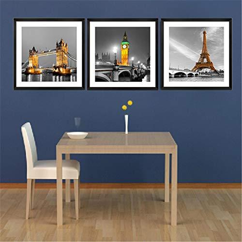 NFXOC Impresiones de Carteles Modernos Imagen Edificio de la Ciudad Puente Paisaje Lienzo Pintura Arte de la Pared Sala de Estar Decoración para el hogar 19.6'x19.6 (50x50cm) x3 Sin Marco