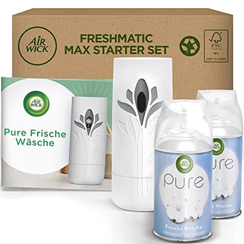 Air Wick Freshmatic Max PURE - Starter Set mit Gerät und 2 Nachfüllern - Batteriebetrieben - Duft: Frische Wäsche - 2 x 250 ml Nachfüller + Gerät in Weiß