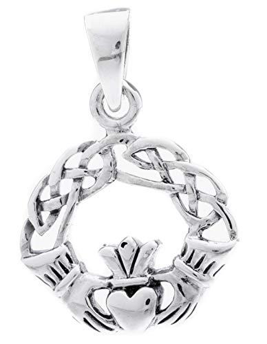 Windalf Irisches Silber-Amulett Claddagh 2.8 cm Freundschafts Symbol Glücks-Amulett 925 Sterlingsilber