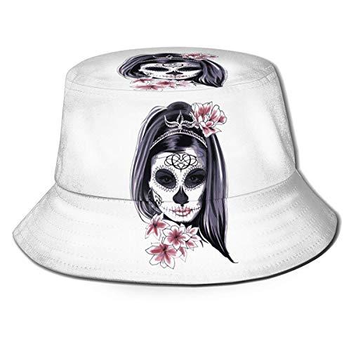 XCNGG Muerte Skull Flower Mujeres Hombres Unisex Sombrero para el Sol Sombrero de Color sólido Sombrero de Pescador Sombrero de Cubo para el Sol Moda Sombrero de Playa Salvaje Gorra Negra