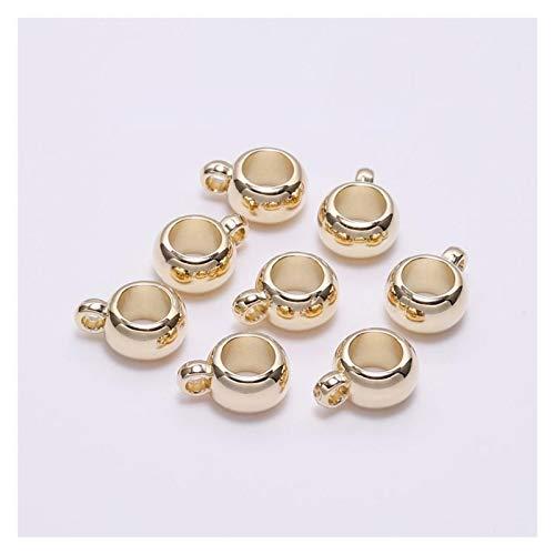WEIGENG 50 cierres de clip para colgar, ganchos de fianza, espaciador de cuentas de agujero grande, conector de cuentas sueltas para suministros de joyería (color: oro KC, tamaño: 8 mm)