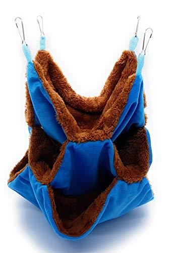 RatsLive® Nagetier Dreifach Hängematte für Ratten, Hamster, Chinchillas und Eichhörnchen 35 x 35 cm (Blau)