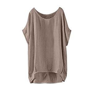 OverDose mujer Con Cuello En Cuello De Manga Larga De AlgodóN Casual SóLido TúNica Suelta Tops Camiseta Mujer Talla Grande (XXXL, Q-Caqui)