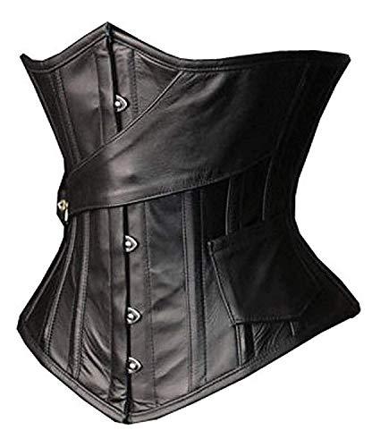SHAPERX Womens Faux Leather Steampunk Gothic Steel Boned Underbust Waist Training Corsets Plus Size up to 5XL,SZ1866-Black-L