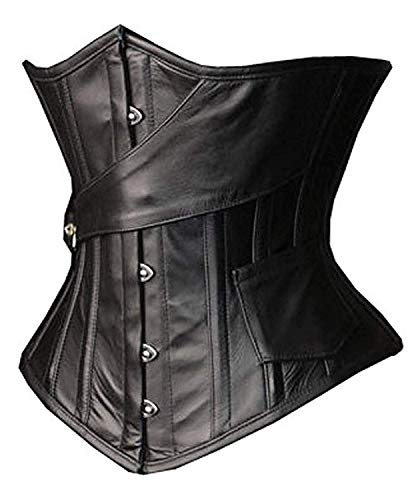 SHAPERX Womens Faux Leather Steampunk Gothic Steel Boned Underbust Waist Training Corsets Plus Size up to 5XL,SZ1866-Black-2XL