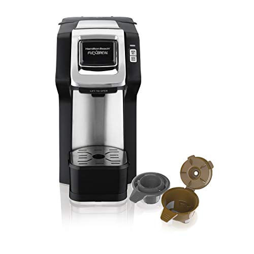 Hamilton 49979 FlexBrew Single-Serve Coffee Maker Compatible with Pod Packs and Grounds, Black and Chrome
