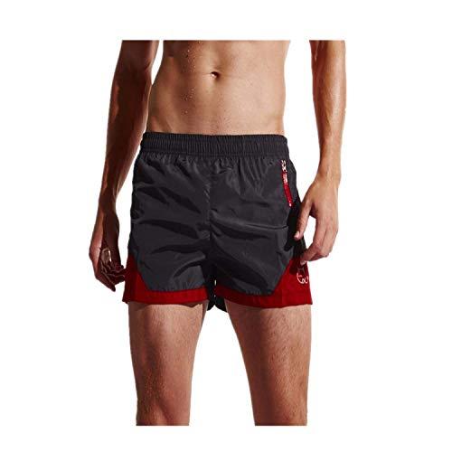 Yowablo Herren Badeshorts Badehose Boxer Kurz mit Innenslip Kurz geschnittene Shorts (M,2Schwarz)