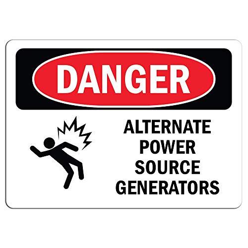 Señal de peligro – Pegatinas de advertencia para generadores de energía alternativa, señal de advertencia para decoración de la casa, ventana de coche, señal de seguridad de advertencia de seguridad 8 x 12 pulgadas
