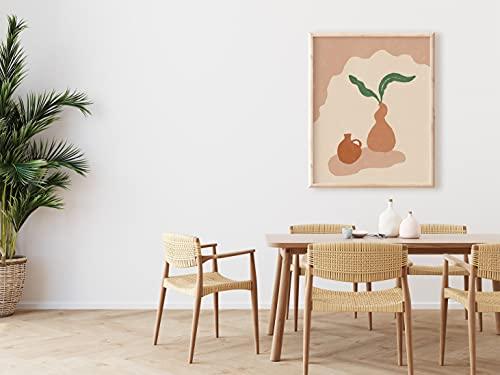 Stampa minimalista boho in ceramica e foglie, semplice terracotta pentole, arte retrò da parete, poster astratto, poster su tela, decorazione per la casa senza cornice, 30,5 x 40,6 cm