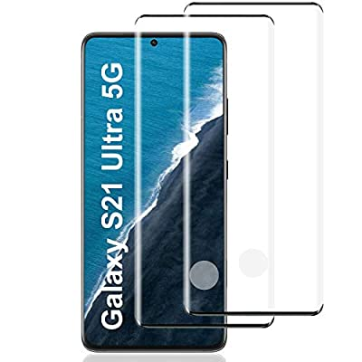 Galaxy S21 Ultra Screen Protector, 9H Hardness/HD Screen/Support Fingerprint Unlock/Bubble Free/3D Curved/Full Coverage/Tempered Glass Screen Protector for Samsung Galaxy S21 Ultra 5G [2 Pack]