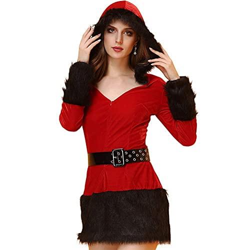 Kerstjurk Kostuum Dames Lange Mouwen Capuchon Voor Onzichtbare Rits Verstelbare Riem Rode Babydoll