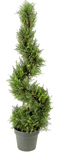 Admired By Nature 3' Artificial Cypress Leave Spiral Topiary Plant Tree in Plastic Pot, Green/Two-Tone