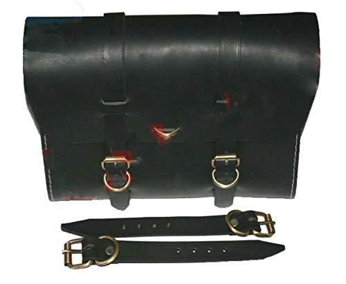 AEspares Fits Royal Enfield Customized Black Leather Side Luggage Saddle Bag