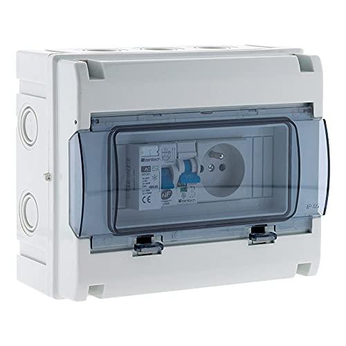 Zenitech 150217 - Estuche eléctrico impermeable IP65, 8 módulos, color blanco