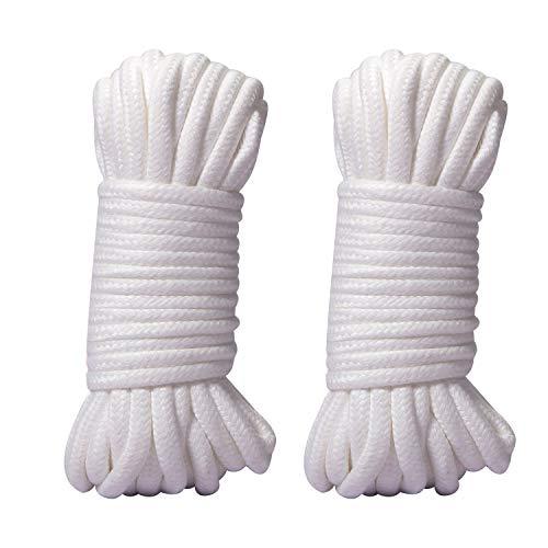 WYMAODAN Cuerda de algodón Suave, Dos Cuerdas Multiusos de 10 M / 8 MM, Cuerda Artesanal, Hilo de algodón Grueso (Blanco)
