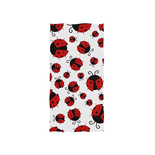 MOFEIYUE Towel Animal Ladybug Print Highly Absorbent Hand Towel for Home Kitchen Bathroom Gym Swim Spa