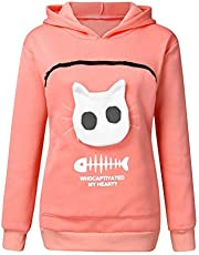 Fluffsy Cat and Dog Pouch Hoodie Pet Carrier Hoodie Cat Dog Pouch Holder Sweatshirt Shirt Top,Animal Hood Breathable Pullover Sweatshirt (XXL,Rosa)