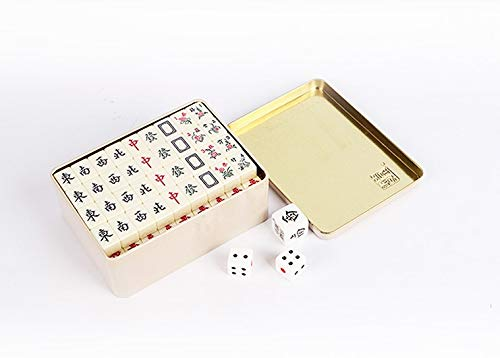 URNOFHW 20 * 14mm Chinesische Mahjong Fliesen 144pcs / Set Tin Box-Verpackung Tragbare Reise Mah-Jong (Color : Ivory Color)