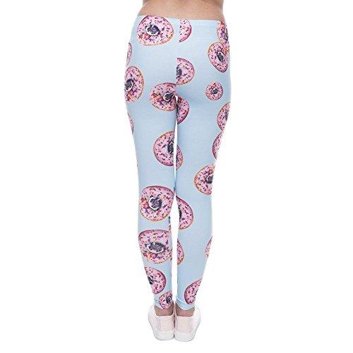 MAYUAN520Frauen Leggings Hose Donuts mit Möpse Print Legging blau Leggins Slim High Elastizität Legins Damen Hose