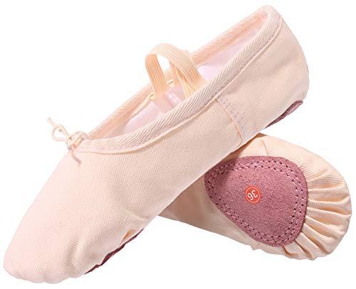 L-RUN Mädchen Frauen Split-Sole Tanz Flach Elastische Ballettschuhe Leinwand Yoga Hausschuhe,Beige,31 EU