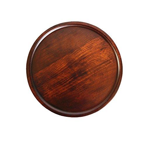 Super UD Plateau de service rond décoratif en bois pour nourriture, café ou thé (24 cm, marron)
