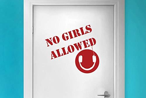 Geen meisjes toegestaan jongens koptelefoon tekenen kamer deur muur Stickers citaten Vinyl Art Decals