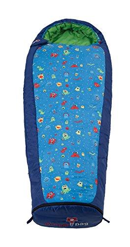 Grüezi+Bag Kinder Schlafsack Mitwachsend Grow Monster RV Rechts, Blau, 34 x 20 x 20 cm