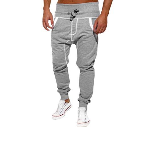New Men Pants Casual Loose Pocket Drawstrintg Elastic Waist Baggy Jogger Slacks Harem Sweatpants Trouser Sports Pants XL Gray