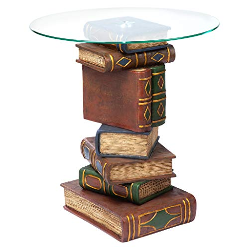 Design Toscano Stacked Book Volumes Vintage Decor End Table with Glass Top, 20 Inch, Polyresin, Full...