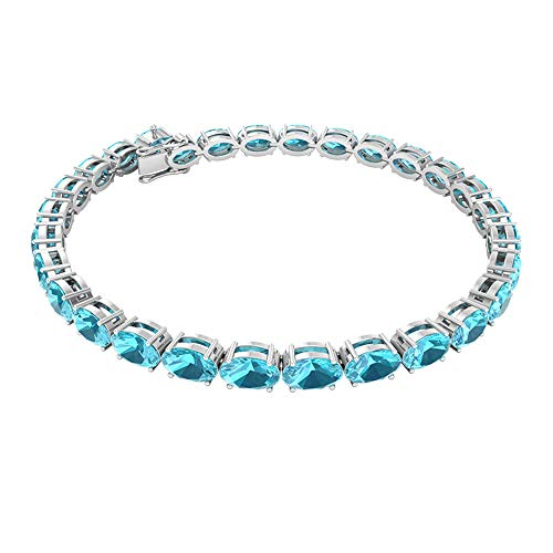 Rosec Jewels 14 quilates oro blanco ovalada Blue Topacio azul - Suizo