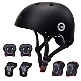 XJD ヘルメット こども用 キッズプロテクターセット 調節可能 軽量 高剛性 通気性 スケボー サイクリング 保護用 子供 自転車 プロテクター 巾着袋付き (ブラック, M:55~57cm)