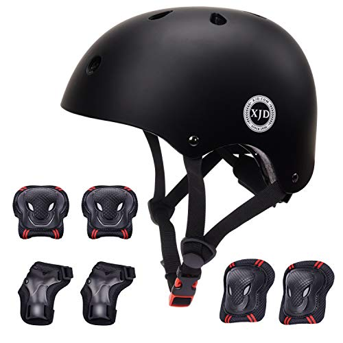 XJD ヘルメット こども用 キッズプロテクターセット 調節可能 軽量 高剛性 通気性 スケボー サイクリング 保護用 子供 自転車 プロテクター 巾着袋付き (ブラック, S:48~54cm)