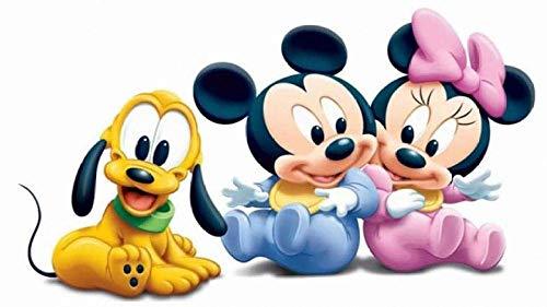 IUWAN Rompecabezas con Imagen de Mickey, Pluto, Minnie Poster K, 1000 Piezas, Rompecabezas Redondos, Juegos educativos, Juguetes, Bonito Regalo, Rompecabezas de ensamblaje para Adultos, 38x26 cm