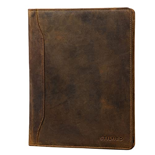 STILORD 'Scott' Vintage Dokumentenmappe Echtes Leder Schreibmappe 12,2 Zoll DIN A4 Hochwertige Aktenmappe mit Reißverschluss, Farbe:mittel - braun