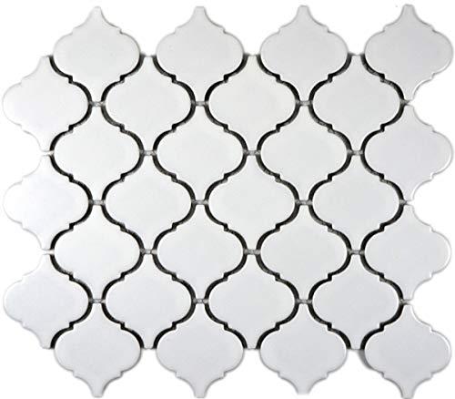 Retro Vintage Mosaik Fliese Keramik Florentiner weiß matt MOS13-11WM