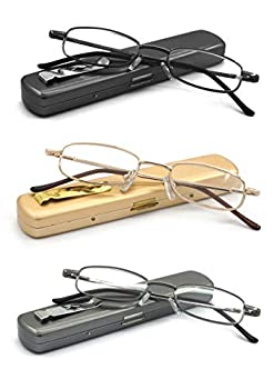 Portable Readers EYE ZOOM 3 Pack Lightweight Metal Reading Glasses Spring Hinge with Pocket Hard Case for Men and Women Black Gold and Gunmetal 1.75 Strength