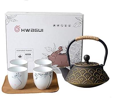 HwaGui - Théière Japonaise en Fonte avec Filtre en Acier Inoxydable pour Le Thé en Feuilles