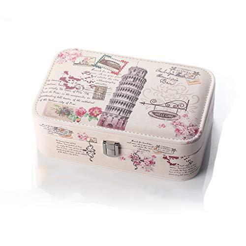 Cajas para joyas Organizador de la joyería caja for el collar pendiente de la joyería de los anillos de viajes organizadora de la joyería caja for las mujeres y GirlsWith Mini Espejo Joyero de piel si