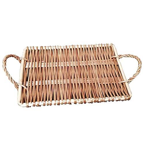 CJFael Decorative Tray,Foldable Plate Household Snack Mat Rattan Storage Tray Basket Fruit Rack Bowl 2