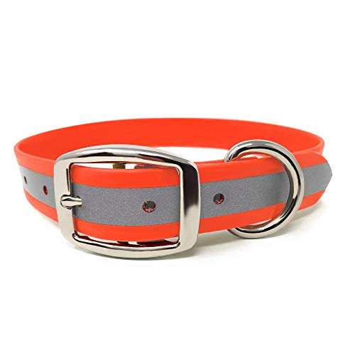 Heavy Duty Reflective Dog Collar – Adjustable and with Durable Metal Buckle and Rings Anti-Odor, chew Resistant, Waterproof Dog Collar for Small Medium and Large Dogs (Large, Orange)